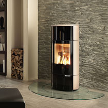 Wood boiler stove / contemporary / metal / stone
