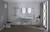 Double washbasin / free-standing / rectangular / ceramic