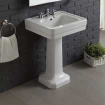 Free-standing washbasin / rectangular / porcelain / traditional