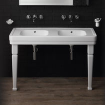 Double washbasin / countertop / rectangular / ceramic