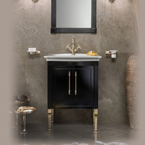 Free-standing washbasin cabinet / wooden / traditional / with integrated cupboards