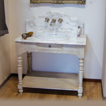 Free-standing washbasin cabinet / wooden / ceramic / traditional