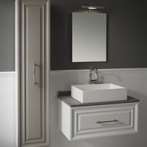 Wall-hung washbasin cabinet / MDF / ceramic / natural stone