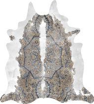 Contemporary rug / geometric / cowhide / fabric
