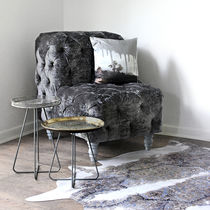 Contemporary bench / leather / velvet / with backrest