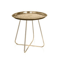 Contemporary bedside table / steel / brass / chromed metal