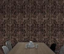 Contemporary wallpaper / damask / printed / wood look