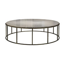 Coffee table / contemporary / metal / marble