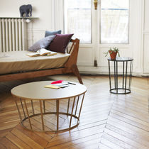 Contemporary coffee table / steel / round