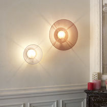 Contemporary wall light / steel / halogen / round