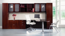 Contemporary desk / wood veneer / with storage / commercial