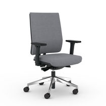 Contemporary office armchair / polypropylene / fabric / leather
