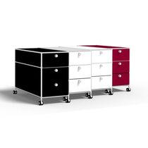 Steel office unit / glass / 3-drawer / 2-drawer