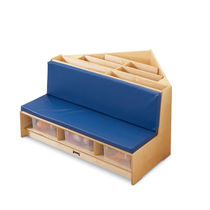 Contemporary upholstered bench / plywood / for schools / with storage compartment
