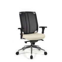 Contemporary office armchair / mesh / leather / adjustable-height