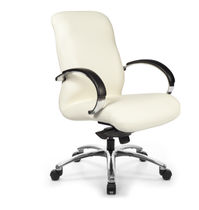 Contemporary office armchair / leather / adjustable-height / with armrests