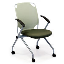Contemporary visitor chair / upholstered / stackable / on casters