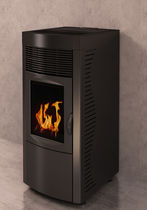 Pellet boiler stove / contemporary / steel / 1-sided