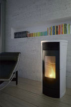 Pellet heating stove / contemporary / earthenware / metal
