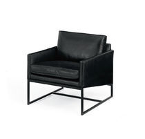 Contemporary armchair / leather / sled base