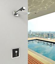 Shower mixer tap / wall-mounted / stainless steel / carbon fiber