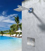 Shower mixer tap / wall-mounted / stainless steel / outdoor