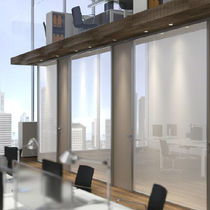 Sliding partition / glazed / professional / decorative