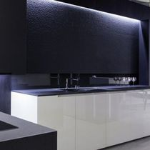 Natural stone wall cladding / interior / black / stone look