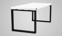 Locker room bench / contemporary / wooden / metal