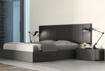 Double bed / contemporary / lacquered wood / leather