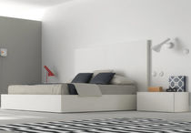 Double bed / contemporary / wooden / lacquered wood