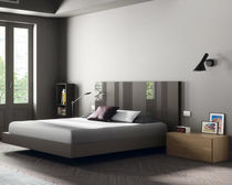 Double bed / floating / contemporary / wooden