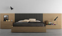 Double bed / contemporary / with headboard / integrated bedside table
