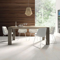 Contemporary dining table / wooden / ceramic / lacquered glass