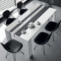 Contemporary table / wooden / ceramic / lacquered glass