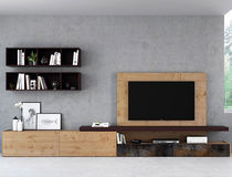 Contemporary TV wall unit / lacquered wood / oak / hi-fi