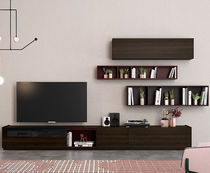 Contemporary TV wall unit / oak