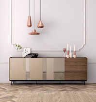Contemporary sideboard / walnut / glass