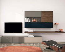 Contemporary TV wall unit / lacquered wood / walnut