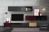 Contemporary TV wall unit / oak / glossy lacquered wood