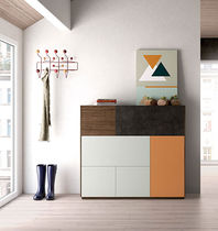 High sideboard / contemporary / lacquered wood / walnut