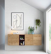 Wall-mounted sideboard / contemporary / oak