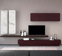 Contemporary TV wall unit / lacquered glass