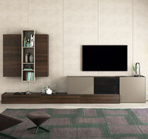 Contemporary TV wall unit / lacquered wood / oak / lacquered glass