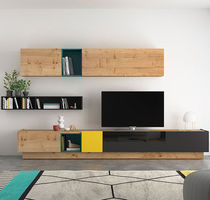 Contemporary TV wall unit / oak / lacquered glass