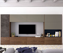 Contemporary TV wall unit / walnut / lacquered glass