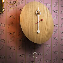 Contemporary clock / pendulum / wall-mounted / lacquered wood
