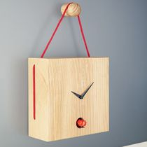 Contemporary clock / analog / wall-mounted / wooden