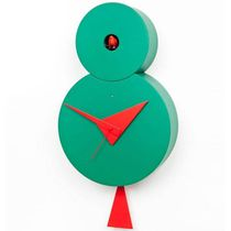 Contemporary clock / analog / wall-mounted / lacquered wood