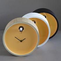 Contemporary clock / analog / wall-mounted / birch